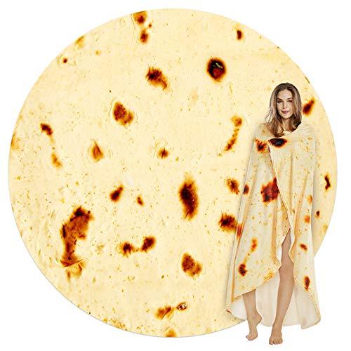 SeaRoomy Burritos Tortilla Throw Blanket, Tortilla Wrap Blanket, Novelty Tortilla Round Blanket Giant Tortilla Round Soft Blanket for Adults and Kids