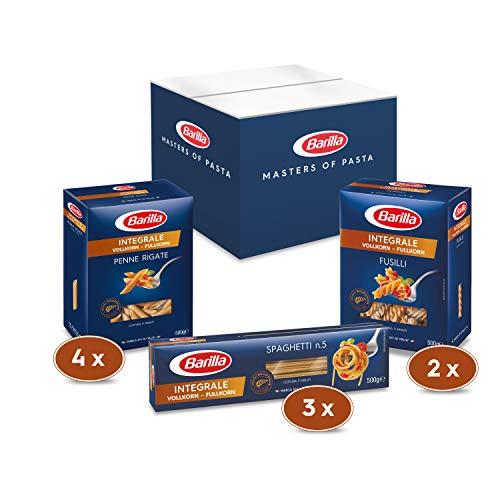 Barilla Vollkorn Pasta Box - Multipack mit 3 Varianten Vollkorn Pasta, 9 x 500g