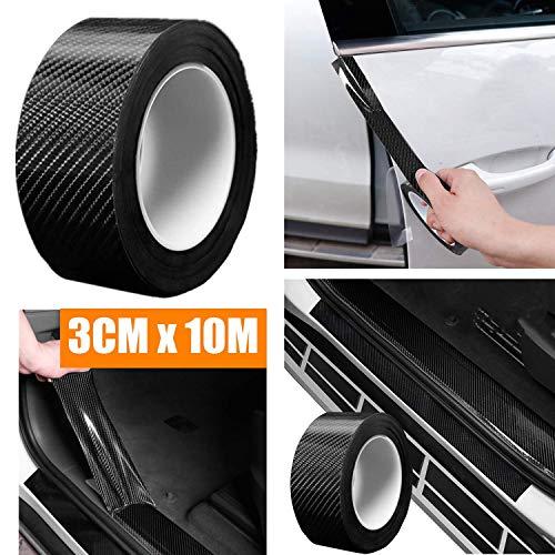 STARPIA Protezione per Paraurti per Auto Antigraffio, 10M Fibra di Carbonio Rivestimento Adesivo Nero Car Sticker Wrapping Auto e Moto (3cm x 10m)