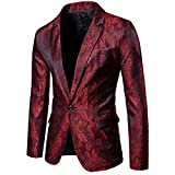 Cloudstyle Mens Slim Fit Paisley Suit Party Suit Jacket One Button Jacquard Sport Coat Burgundy
