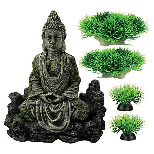 Smoothedo-Pets Decoración de pecera para acuario, decoración de 7 pulgadas/adornos de tamaño medio, accesorios para escondite de pescado estilo antiguo estatua de Buda (Buddha Statue-B)