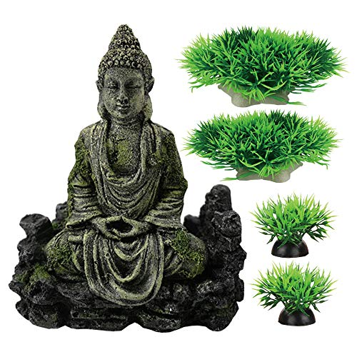 Smoothedo-Pets Fish Tank Decorations Aquarium Decoration 7 inch/Medium-Sized Ornaments Accessories Fish Hides Antique Style Buddha Statue (Buddha Statue-B)