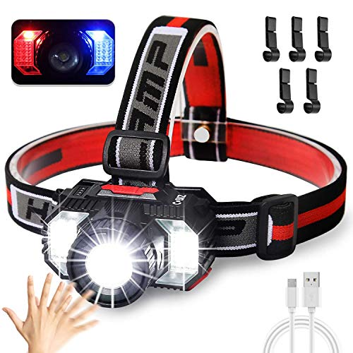 Motion Sensor LED Headlamp with 5 PCS Hat Hook,Super Bright 6000Lumen Head Torch with 6 Modes,USB Rechargeable IPX5 Waterproof Headlight