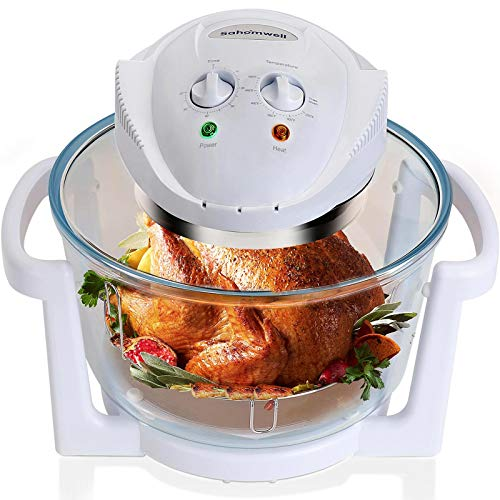 Air Fryer, Counter Top Toaster Oven, Convection Oven with Glass Bowl, Easy to Clean, Halogen Heating Element, XL to 18 qt, White