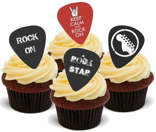 Rock auf Gitarre Plectrum Mix - 12 essbare hochwertige stehende Waffeln Karte Kuchen Toppers Dekorationen, Rock On Guitar Plectrum Mix - 12 Edible Stand Up Premium Wafer Card Cake Toppers Decorations