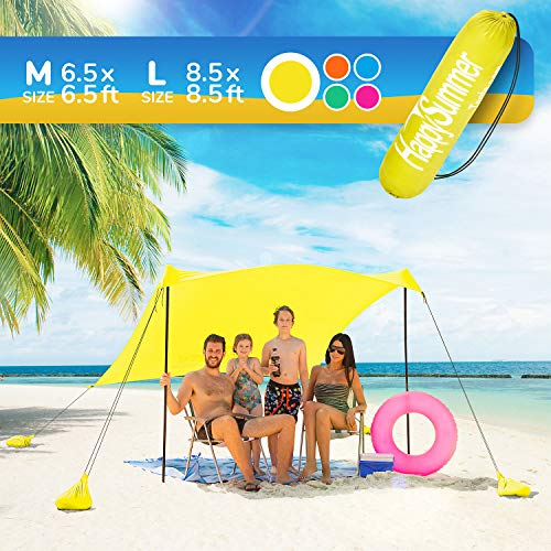 HappySummer Beach Tent with sandbag Anchors—The Portable, Lightweight, 100% Lycra SunShelter with UV Protection. The Perfect Sunshade Canopy for The Entire Family (Yellow, Medium)