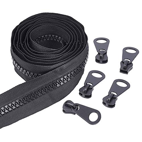 BENECREAT 10 Yards #10 Nylon Closed-end Zippers with 20Pcs Metal Sliders for DIY Sewing Tailor Crafts Bags Tents, Black