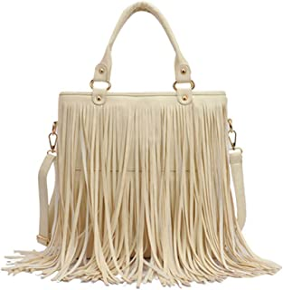 RARITY-US Women Fringe Tassel Shoulder Bag Large Leather Tote Handbag Hobo Crossbody Bag
