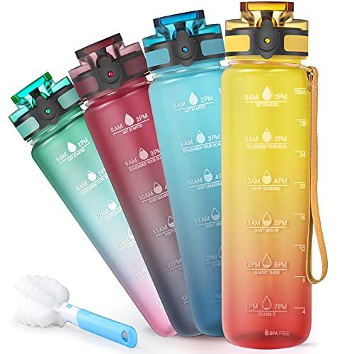 Sahara Sailor Bottiglia Acqua,1000 ml Sportiva Borraccia con Contrassegno del Tempo Motivazionale,di Bevanda Borraccia in Plastica Tritan Senza BPA Adatta per Sport,Bambini,Scuola, Bici (Arancia)
