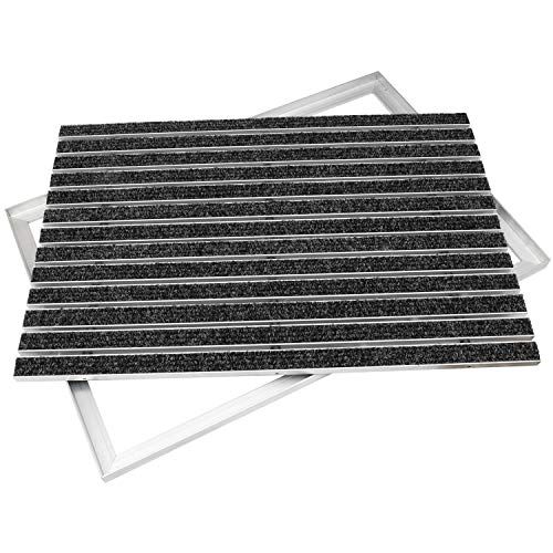 Desan | Alu Fußmatte Ultra Mat | 22mm Aluminium Fußabtreter für Außen und Innen | Türmatte für die Haustür | Alu Rahmen | Schmutzfangmatte in 3 Größen | Anthrazit | Textilrips | 40 x 60 cm