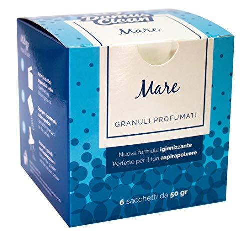domus clean Granuli profumati per aspirapolvere - Fragranza Mare - Scatola con 6 bustine da 50 Grammi