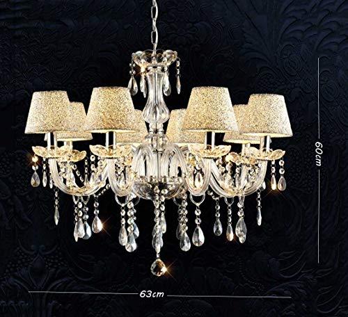 SX-CHENG *Lampe Bougie en Cristal Lustre en Cristal -6 tête 8 tête Simple Transparent Chambre Salon Jour décalage Lampe Lustre (Couleur : 8 Heads, Taille : with Remote Control)