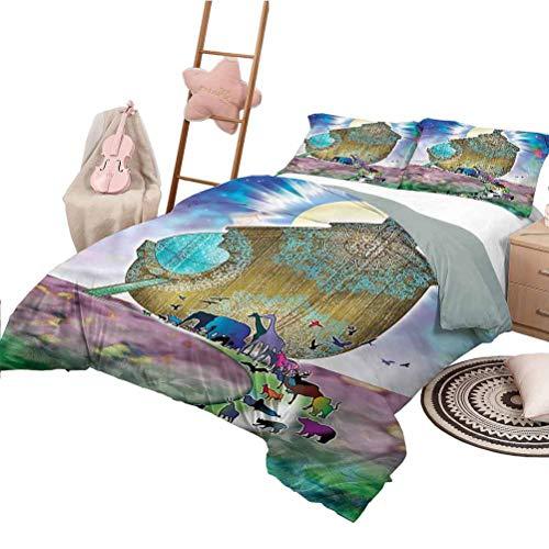 Set Trapunta per Bambini Queen Size Copriletto Mystic Pattern Noah Ark Coppia Animali