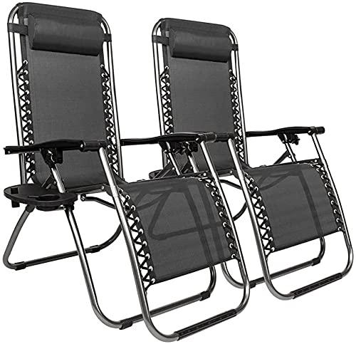 Sillas de salón para sillón Exterior de 2 Piezas, sillones de Patio de Gravedad Cero de Gran tamaño, Silla Plegable Acolchada con Soporte de Taza