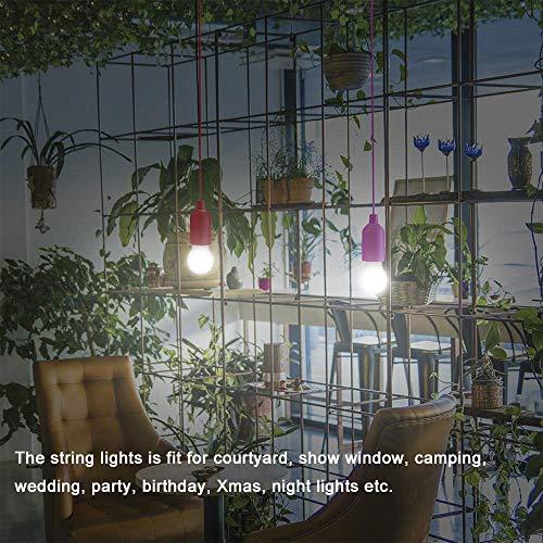 Lightess 4er Pull LightLampe Ziehlampe Camping Tragbare LED Leuchte Colors Glühbirnen Campinglampe Dekoratives Licht Pendelleuchte für Party Garten Schuppen Zelt Camping Dachboden Kleiderschrank - 6