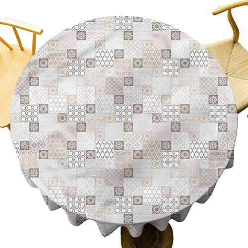 Tablecloths for Round Tables Oriental Checkered Motif. Outdoor Picnic Table Diameter 51'