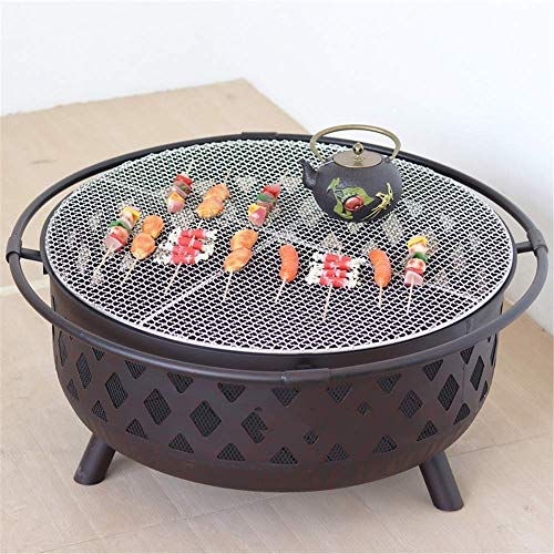 HEWEI Outdoor Fire Pit - 32 inch Campfire Wood Burning Patio and Backyard Outdoor fire Pit with Spark arrestor Poker and Round Fireplace Cover