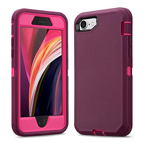 Ballaber - Funda 3 en 1 para iPhone SE 2020, iPhone 7 y iPhone 8, resistente a los golpes, carcasa de silicona suave con protector de pantalla (rojo vino)
