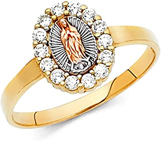 Jewels By Lux 14K White Yellow and Rose Three Color Gold Our Lady of Guadalupe Virgin Mary Cubic Zirconia CZ Ring