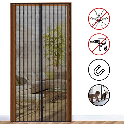 Fliegengitter Balkontür, Mosteck Magnet Fliegengitter Tür Insektenschutz 100 x 210 cm, Fliegenvorhang Moskitonetz Magnet Vorhang Geeignet für Wohnzimmer, Haustür, Hintertür, Klebmontage ohne Bohren