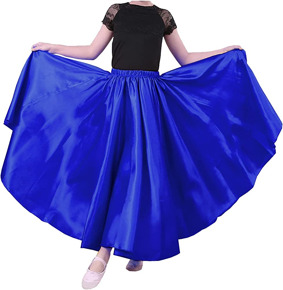 Backgarden Overseas parallel import regular item Girls Purchase Stretched Flowy Satin Long Skirt C for Princess