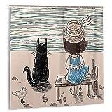 Dfform Impermeable Cortina de Ducha,Niña con Sombrero de Panamá Sentado en un Banco con Esponjoso Gato Junto al mar,Impermeable y Opaco con 12 Ganchos