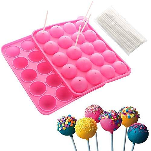 Stampo per Cake Pop in Silicone Senza BPA, 20 Fori Strumenti di Cottura Fai-da-Te con Bastoncini per Pop Cake, per Lecca-Lecca Cake Baking Candy Ice Sphere Chocolate Making