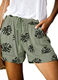 Elapsy Womens Ladies Casual Leaf Pattern Drawstring Elastic Waist Pants Midi Rise Lightweight Summer Beach Shorts with Pockets Plus Size Green X-Large