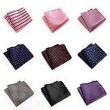 NJZYB Juego de 9 pañuelos de seda para hombre, diseño de cuadrícula a rayas, con bolsillo cuadrado, accesorio para fiesta de boda (multicolor al azar) (color: multicolor, tamaño: 25 x 25 cm)