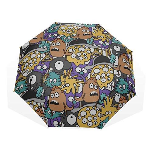 Bester Regenschirm Art Fashion Block Comic 3 Faltbare Kunstschirme (Faltbarer Sonnenschirm Leichter Faltschirm Bester Sonnenschirm Bester Sonnenschirm