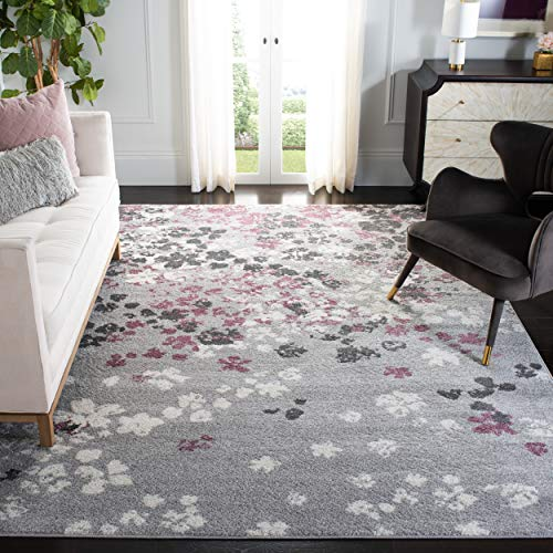 Safavieh Adirondack Collection ADR115M Floral Area Rug, 8' x 10', Light Grey / Purple