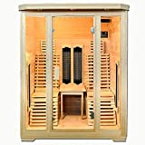 ArtSauna Helsinki 150 - Cabina de infrarrojos con focos de cerámica y madera de cicuta | Sauna de infrarrojos con asientos de relajación para 2personas