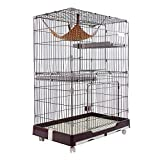 DZLA Jaula para Gatos Gato casa con 3 Niveles Jaula para Mascotas Villa para Gato Jaula para Animales pequeños Gatitos, Chinchillas, azúcar (L-99×63×134cm, Marrón)