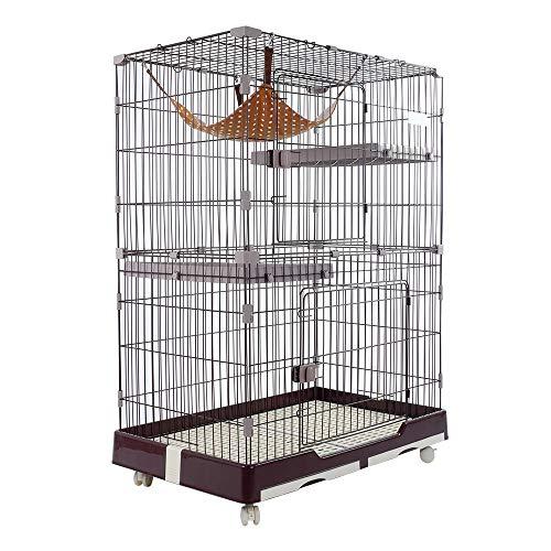 DZLA Jaula para Gatos Gato casa con 3 Niveles Jaula para Mascotas Villa para Gato Jaula para Animales pequeños Gatitos, Chinchillas, azúcar con 4 Ruedas(M-82×57×124cm, Marrón)