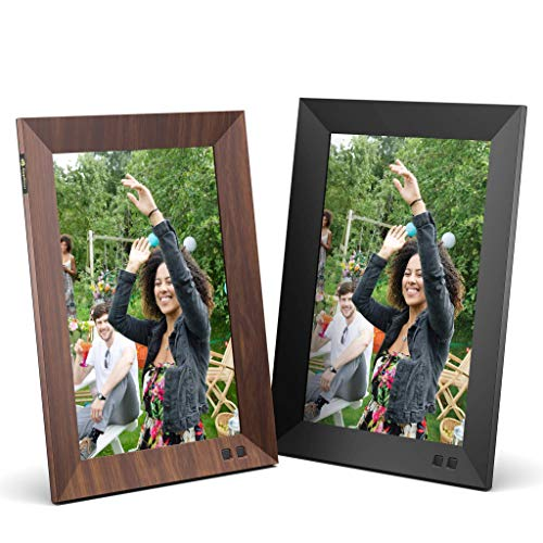 Nixplay Smart Digital Picture Frame Bundle - 10 inch Black and Wood Effect