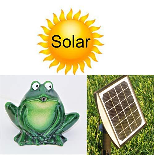 powershop11 Wasserspeier Frosch dunkelgrün Keramik 12 cm mit Solarpumpe Solaris 170