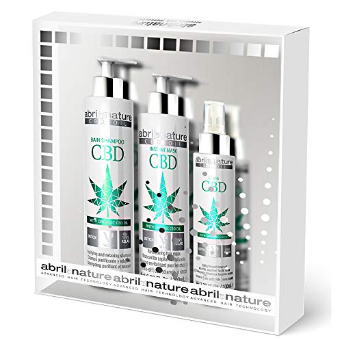 abril et nature | Pack Tratamiento Detox Relajante CBD Cannabis Oil Vegano | Set Mascarilla Pelo, Champú y Finalizador | Relajante Purificante (CBD OIL - Detox Relajante)
