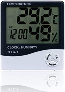 Jullynice HTC-1 Indoor Room LCD Electronic Temperature Humidity Meter Digital Thermometer Hygrometer Weather Station Alarm Clock Fork Air Bleeder