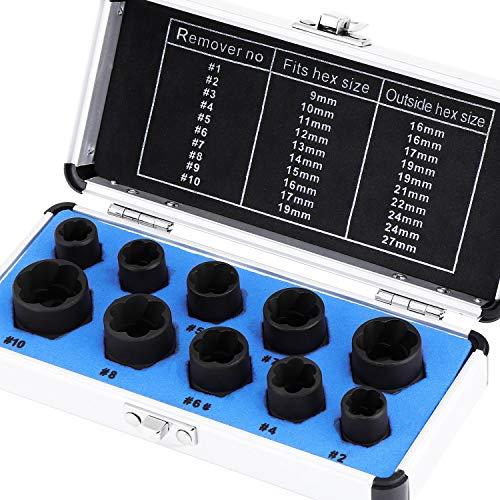 HSEAMALL Juego de 10 extractores de pernos, juego de extractores de tuercas de 9 a 19 mm, juego de extractores para quitar tuercas de rueda de bloqueo