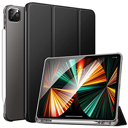 MoKo Hülle Kompatibel mit iPad Pro 12.9 2021, Smart Hülle Ständer Schutzhülle Cover mit Transluzent TPU Rückseite & Stifthalter Kompatibel mit iPad Pro 12.9 2021, Schwarz