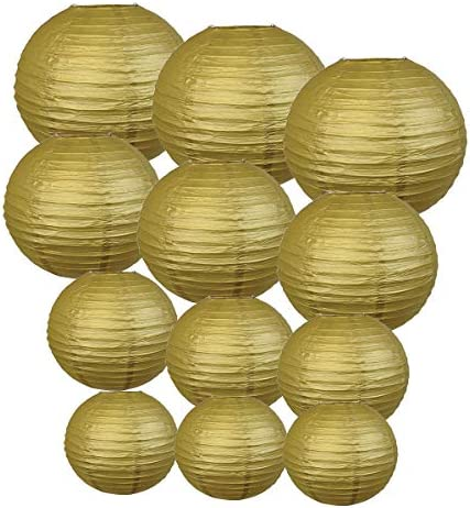 12 Pcs Gold Paper Lanterns Size of 12 10 8 6 Hanging Chinese Japanese Paper Light Shade Ball product image