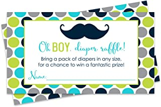 Paper Clever Party Diaper Raffle Tickets Little Man (Pack of 25) Inserts Boys Baby Shower Games