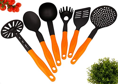 Lantelme Küchenhelfer Set 6 teilig Farbe Schwarz Orange Stabil Spülmaschinengeeignet Hitzebeständig 3733