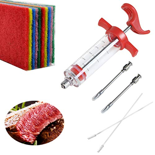 Tianher BBQ Braadspuit 1 stuks vlees marinade injectiespuit met 2 naalden+2 reinigingsborstel+10 stuks Schuursponsje voor BBQ Grilling Bakken en Koken keuken gereedschap