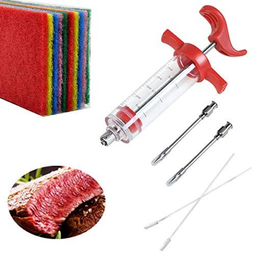 Tianher Carne inyector Jeringa para marinar 2 Piezas Agujas y 2 Cepillos De Limpieza y 10 Piezas Estropajo Clásico para Barbacoa Cocina cocinar Herramienta