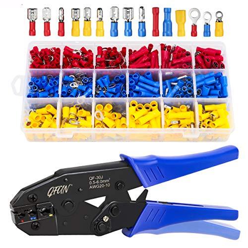 Qfun Crimpzange Kabelschuhe Set, 27 Arten von Flachstecker AWG20-10(0,5-1,5 mm²) (1,5-2,5 mm²) (4-6 mm²) Kabelschuh Sortiment Kabelschuhzange mit 700 Stück Aderendhülsen Set Quetschverbinder