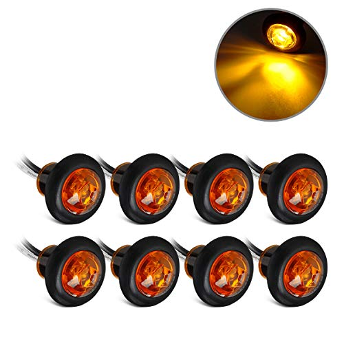 8X 3/4 inch Mount Amber Clearance LED Bullet light Lamp Truck Trailer Round Side Marker Lights Lamps