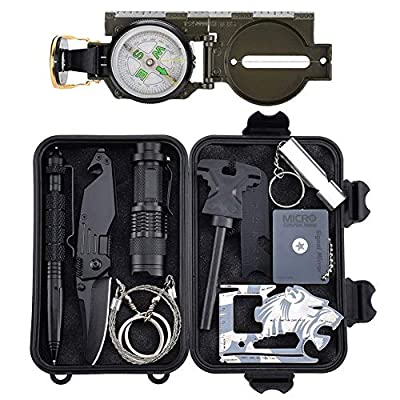 Survival Gear Kit 11 in 1, Tianers Professional Outdoor Emergency Survival Tool with Military Compass, Survival Knife, Saber Card, Fire Starter, Whistle, Tactical Pen for Travel Hike Field Camp from Tianers