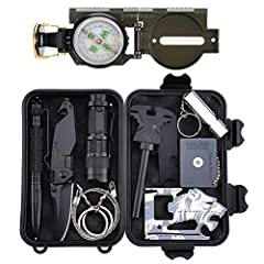 【MULTI-FUNCTION SURVIVAL TOOL KIT】11 in 1 Survival kit was able to meet the needs in different environments. Including: 1* Fire Starter, 1* Multi-function Knife, 1* Compass, 1* Scraper, 1* Whistle, 1* Tungsten steel pen, 1* Signal Mirror, 1* Flashlig...