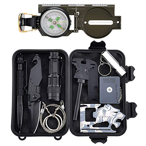 Tianers Emergency Survival Kit 16 in 1, Upgrade Compact Survival Gear, Tactical Survival Tool for Cars, Camping, Hiking, Hunting, Adventure Accessorie (Survival Kit 11 in 1)